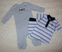 Carter's Infant Baby Boy Grey Outfit and Striped Outfit 3MTH