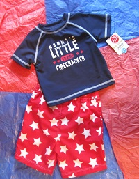 "4th of July Carter's Toddler Boy ""Firecracker"" Swim Set 24MTH"