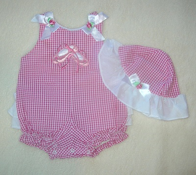 Rare Editions Infant Baby Girl Pink & White Checked Romper 3-6MTH