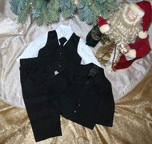 Sweet Kids Infant Baby Boy Black 5PC Suit 6-9MTH