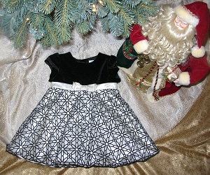 Christmas George Baby Toddler Girl Black & Ivory Dress 24MTH