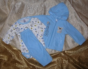 Coney Isle Infant Baby Boy 3PC Blue Set with Bear 6-9MTH