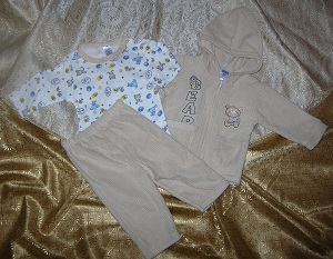 Coney Isle Infant Baby Boy 3PC Tan Set with Bears 6-9MTH