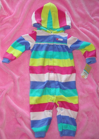 Carter's Baby Toddler Girl Hooded Fleece Striped Outfit 12MTH