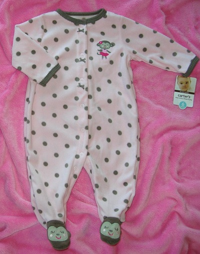 Carter's Infant Baby Girl Pink Outfit w/Ballerina Monkey 6MTH