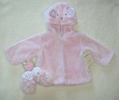 Carter's Infant Baby Girl Pink Bunny Jacket & Slippers 0-6MTH