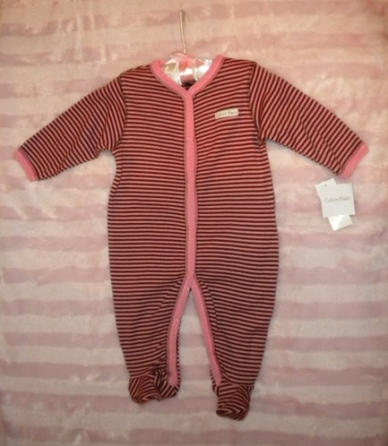 Calvin Klein Infant Baby Girl Brown/Pink Striped Outfit 3-6MTH