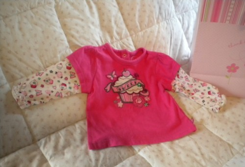 The Children's Place Infant Baby Girl Long Sleeve Cupcake Shirt 6-9MTH
