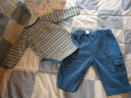 The Children's Place Infant Baby Boy 2PC Outfit Blue Stripes 3-6MTH