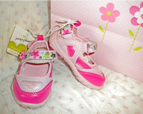 Jumping Beans Infant Baby Girl Pink Flower Shoes Size 2