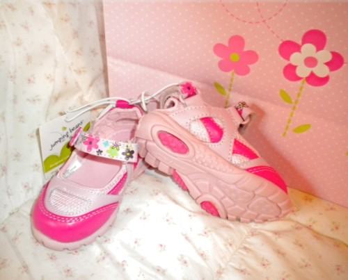 Jumping Beans Infant Baby Girl Pink Flower Shoes Size 3