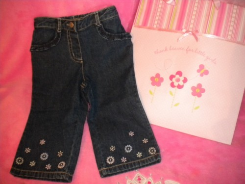 Gymboree Baby Toddler Girl Jeans w/Flowers 12-18MTH