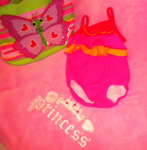 The Children's Place Infant Baby Girl Pink/Orange Bathing Suit 6-9MTH
