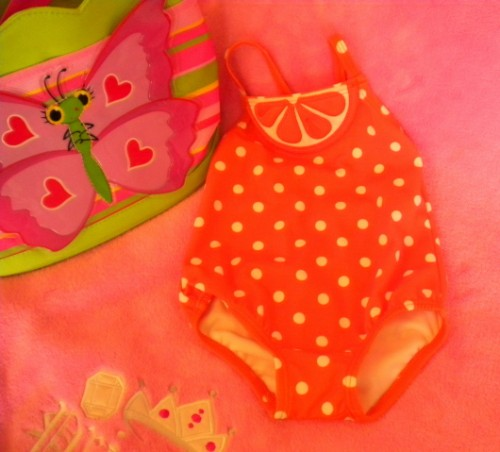 Gymboree Infant Baby Girl Orange/White Polka Dot Bathing Suit 3-6MTH