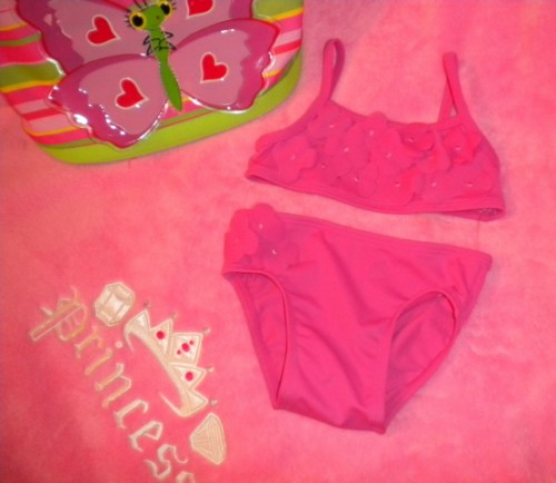 Old Navy Infant Baby Girl Hot Pink Bikini with Flowers 6-12MTH