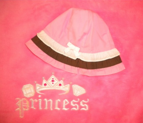 Gymboree Infant Baby Girl Pink/White/Brown Sunhat 3-6MTH