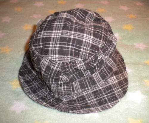 The Children's Place Infant Baby Boy Grey Plaid Sunhat 0-3MTH