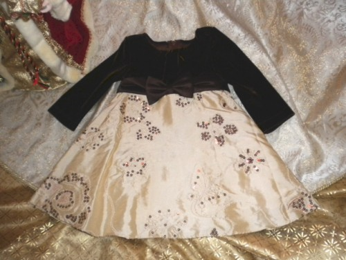 Christmas Rare Editions Brown & Gold Holiday Dress 12MTH