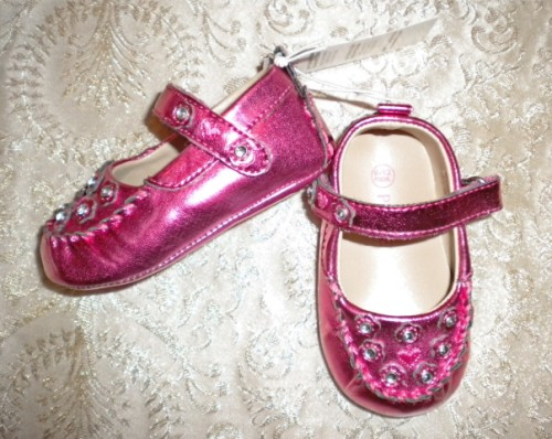 "The Children's Place Infant Baby Girl Pink ""Sparkle"" Shoes 6-12MTH"