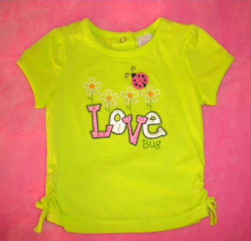 "Little Miss Attitude Infant Baby Girl Green ""Love Bug"" Shirt 12MTH"