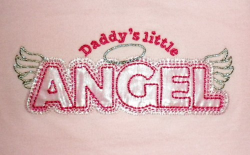 "Little Miss Attitude Infant Baby Girl Pink ""Daddy's Little Angel"" Shirt 12MTH"