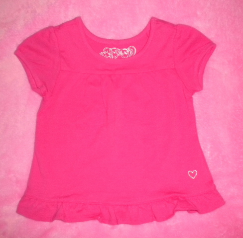 The Children's Place Baby Toddler Girl Bright Pink Short Sleeve Shirt 18MTH