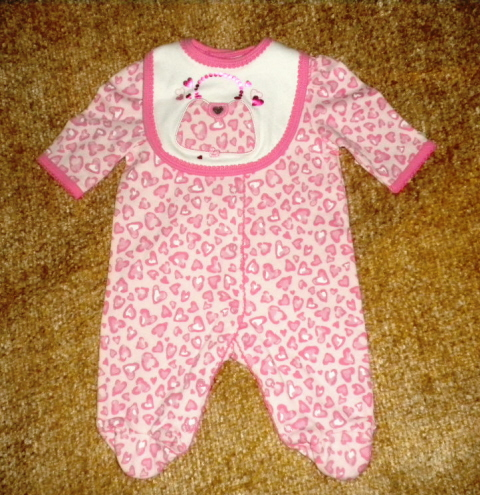 Little Me Newborn Infant Baby Girl Pink Heart Outfit with Bib NB