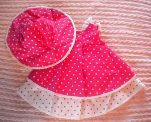 Rare Editions Infant Baby Girl Pink Polka Dot Dress 3MTH