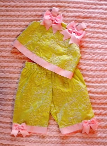 Rare Editions Infant Baby Girl Green 2PC Capri Set 9MTH