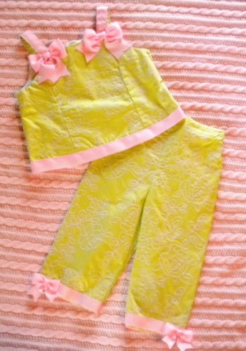Chantilly Place Toddler Girl 2PC Green Capri Set 4T