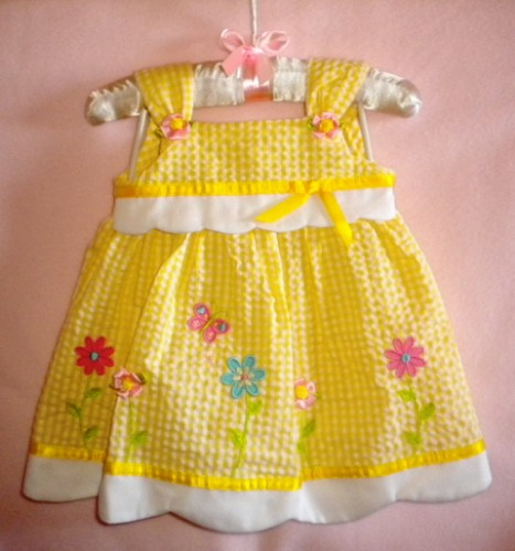 Youngland Infant Baby Girl Yellow Checked Dress 6-9MTH