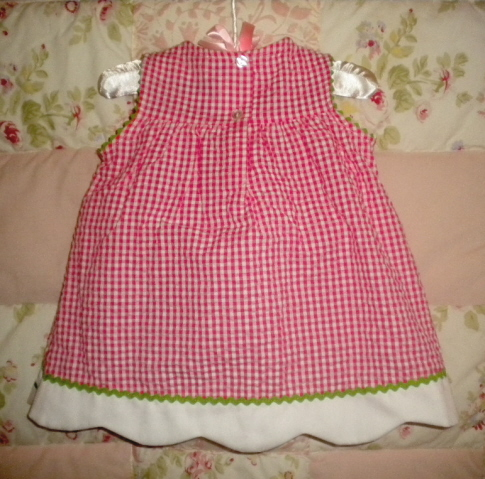 Youngland Baby Toddler Girl Pink & White Checked Dress 12MTH