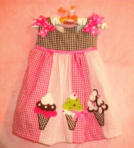 Rare, Too! Infant Baby Girl Pink & Brown Sundress w/Ice Cream 9MTH