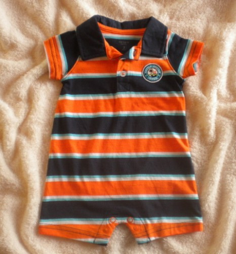 Carter's Infant Baby Boy Blue & Orange Striped 1PC 6MTH