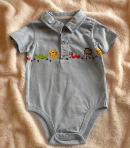Jumping Beans Infant Baby Boy Blue Onesie w/Animals 6-9MTH