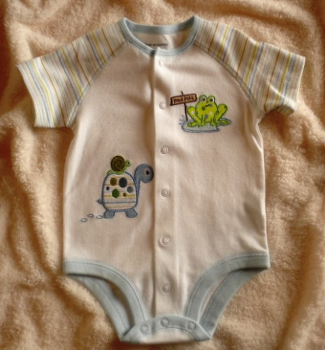 First Moments Infant Baby Boy Onesie w/Frog & Turtle 6-9MTH
