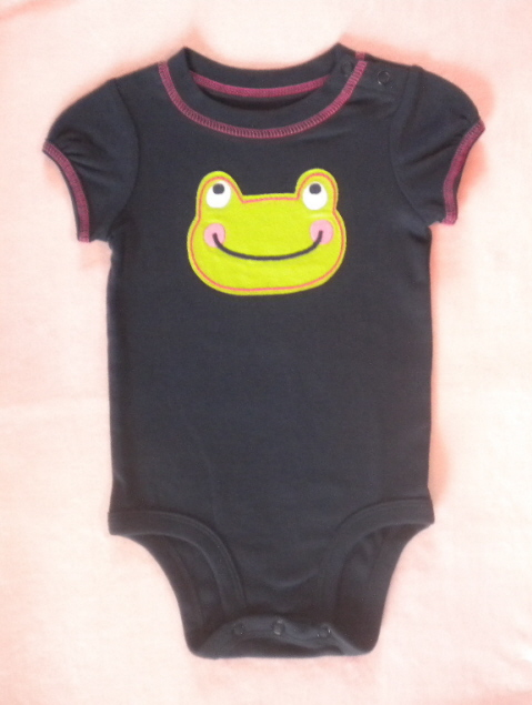 Carter's Baby Toddler Girl Dark Blue Onesie w/Frog 12MTH