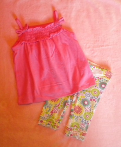 Greendog Baby Toddler Girl Pink Top & Print Pants Set 12MTH