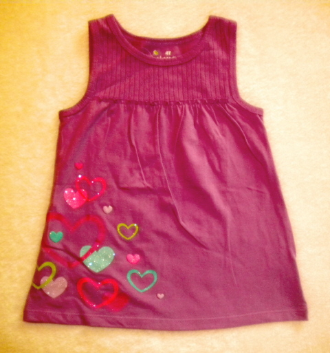 Jumping Beans Toddler Girl Purple Babydoll Top w/Hearts 4T