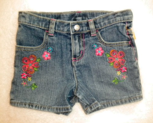 Sonoma Toddler Girl Jean Shorts w/Stitched Flowers 4T