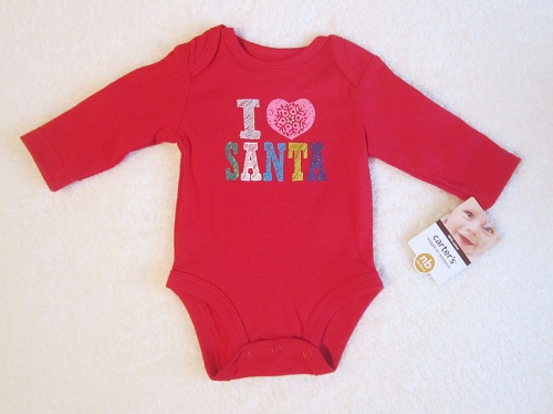 Christmas Carter's Infant Baby Red Long Sleeve I Love Santa Onesie NB