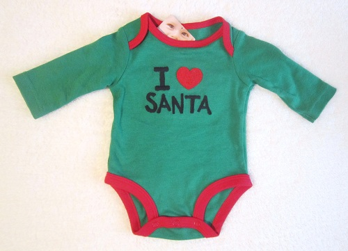 Christmas Carter's Infant Baby Green Long Sleeve I Love Santa Onesie NB