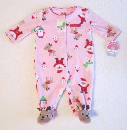 "Christmas Child of Mine Infant Baby Pink Fleece ""My 1st Christmas"" Outfit NB"