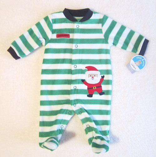 Christmas Child of Mine Infant Baby Green & White Striped Fleece Outfit NB