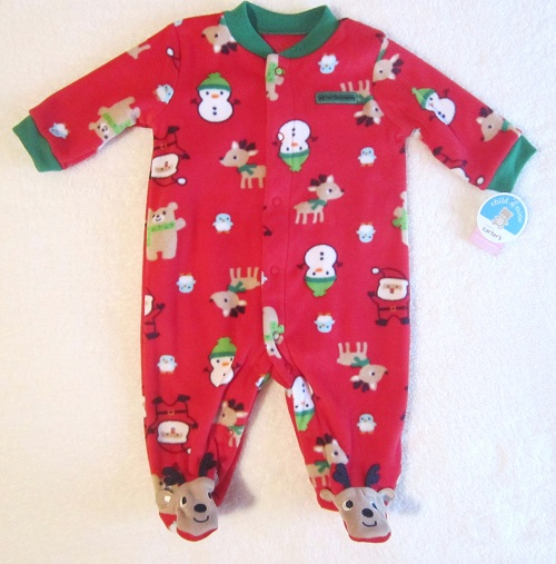 Christmas Child of Mine Infant Baby Red Fleece My 1st Christmas Outfit 0-3MTH