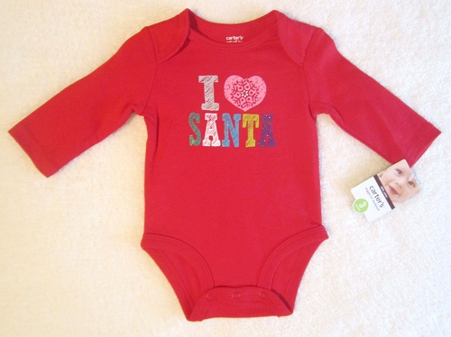 Christmas Carter's Infant Baby Red Long Sleeve I Love Santa Onesie 3MTH