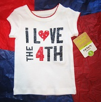 "4th of July Carter's Infant Baby Girl ""i Love the 4th"" Top 3MTH"