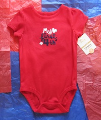 4th of July Baby Toddler Girl Red My First 4th Onesie 12MTH