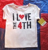 "4th of July Carter's Toddler Girl ""i love the 4th"" Top 3T"