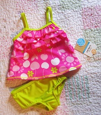 Carter's Baby Toddler Girl Pink & Green 2PC Bathing Suit 12MTH